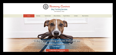 Harmony canines website screen shot