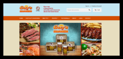Guy's Seasoning screen shot of their website's homepage
