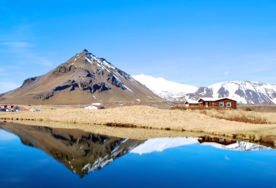 Reflection of Iceland Mountains