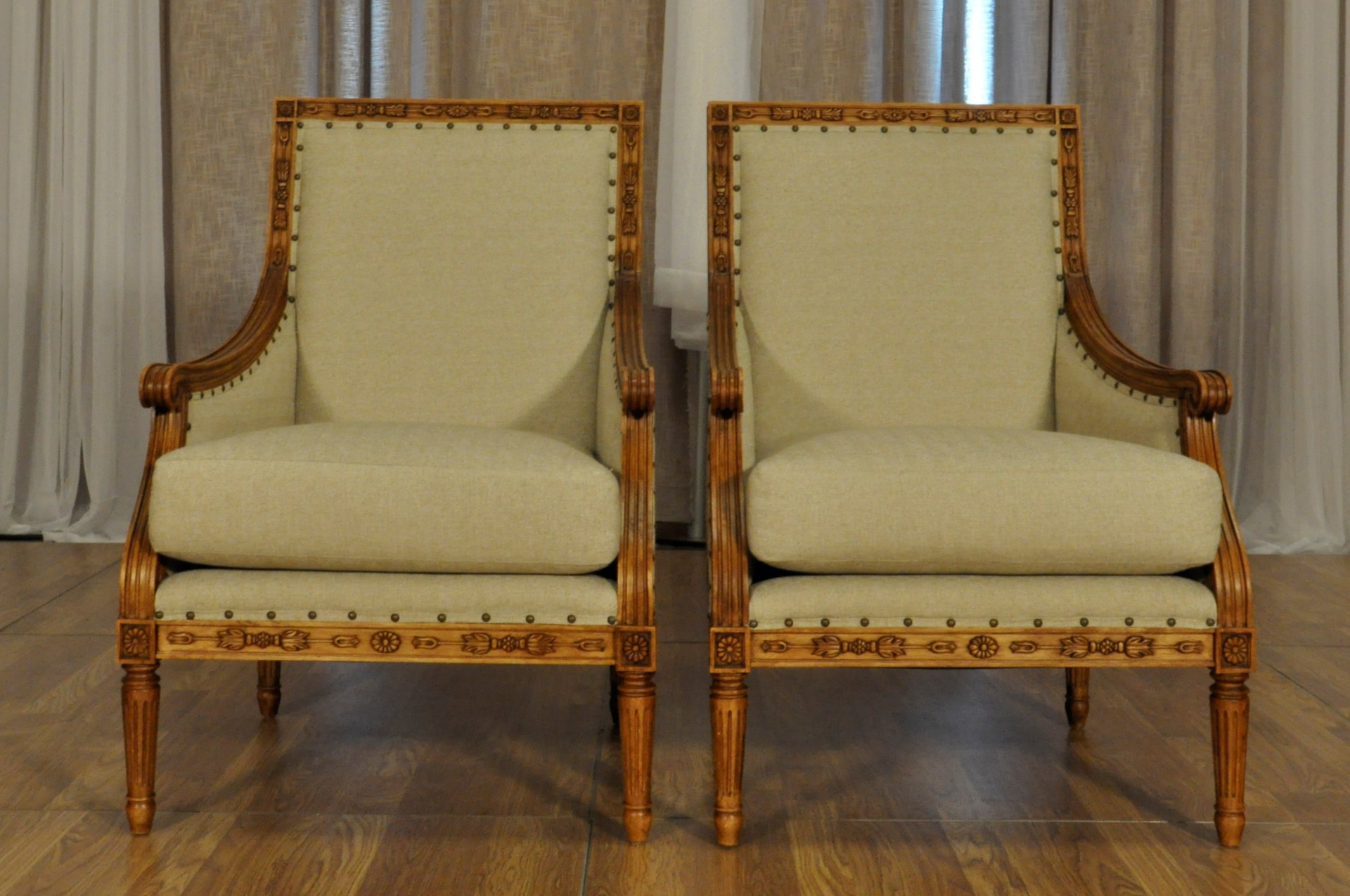 CHESTERFIELD WOODEN ARM CHAIRS