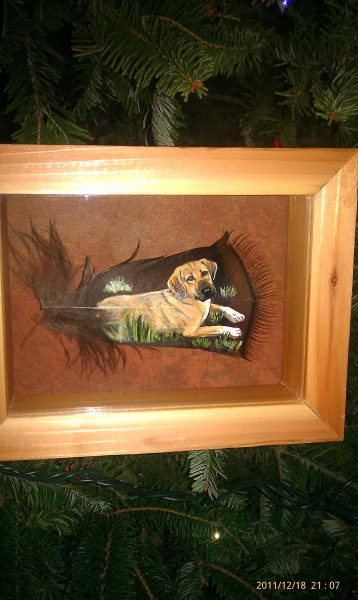 Dog painting on a small covert framed!