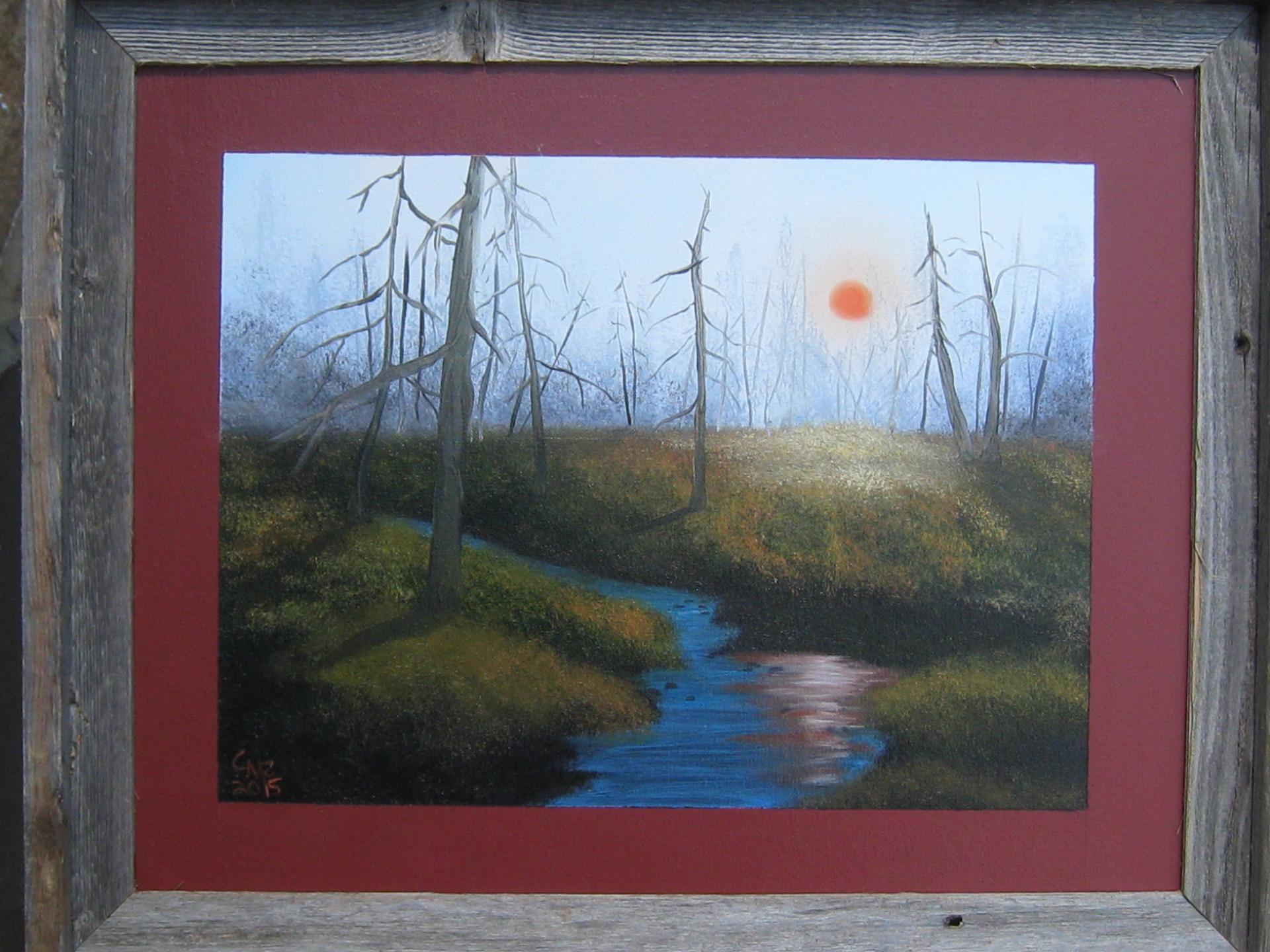 """Woodland Haze"" 16x20 Framed Painting"