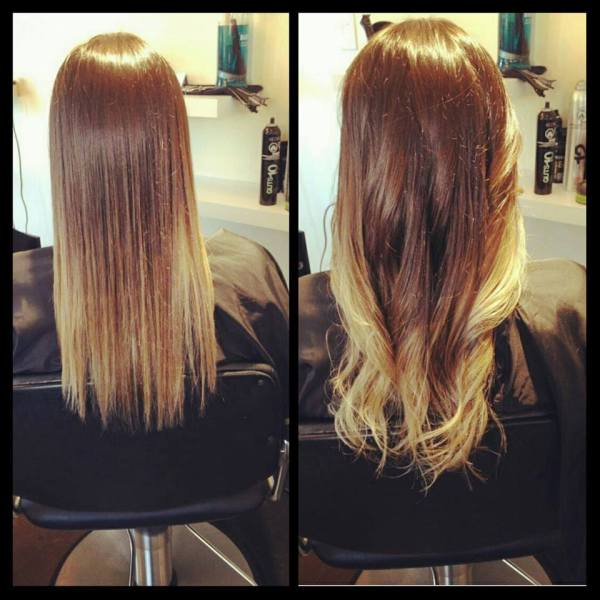 Straight and Curled Ombre