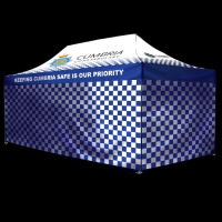 a 6m x 3m fully enclosed printed gazebo for Cumbria Police