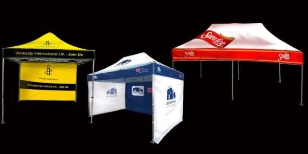The three sizes of printed gazebos we supply, 3m x 3m, 4.5m x 3m and 6m x 3m