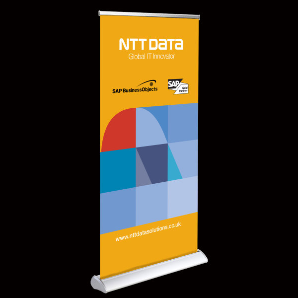 a deluxe roller banner stand 850mm wide