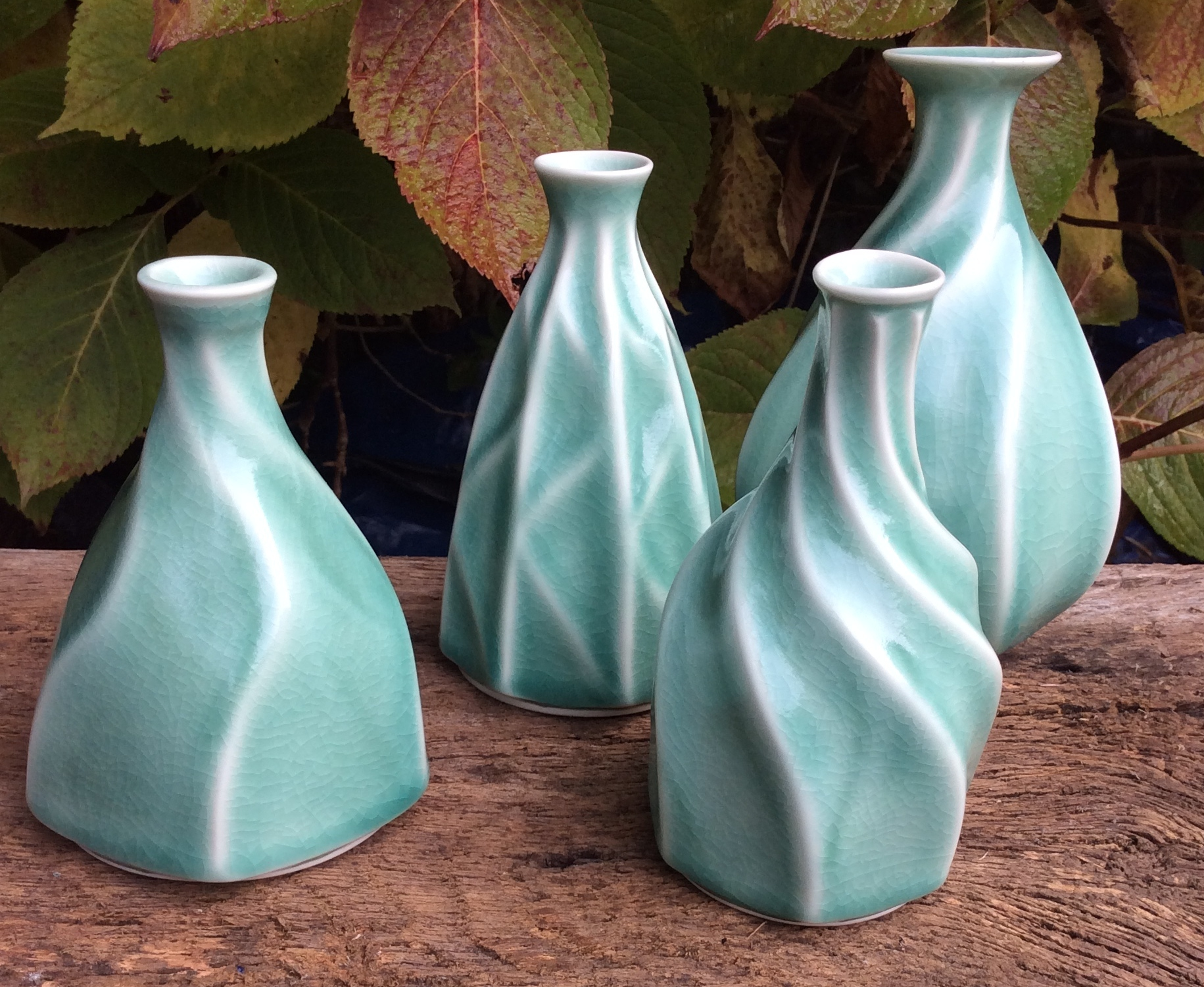 porcelain bottles ( 'ten green bottles' collection )
