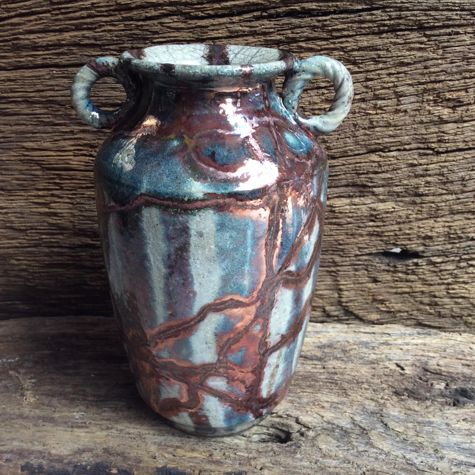high fired Raku vase 16cms high