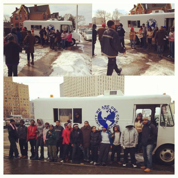 Students helping feed the homeless.