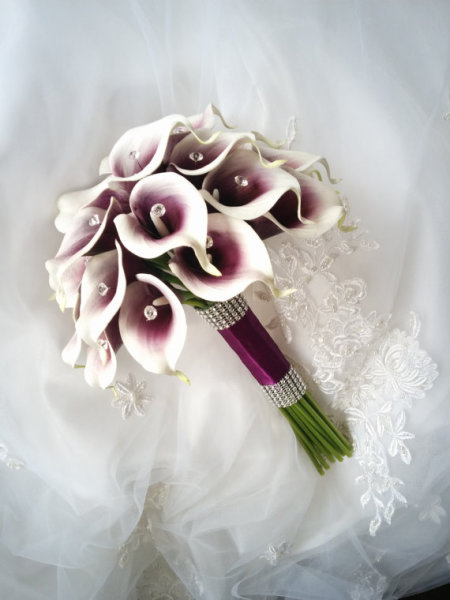 Purple Wedding flowers bouquet, silk wedding bouquet, destination wedding, silk wedding flowers bouquets CANADA Silk Calla Lilies bouquet