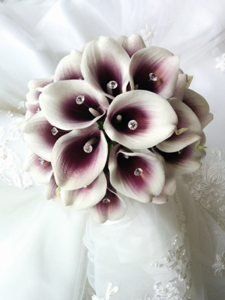 Purple plum Eggplant Wedding flowers bouquet, silk wedding bouquet, destination wedding, silk wedding flowers bouquets CANADA Silk Calla Lilies bouquet
