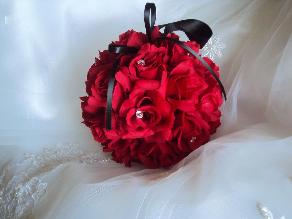 Silk Red Roses Flower Girl Pomander kissing Ball