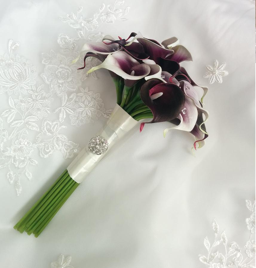 Purple Wedding flowers bouquet, silk wedding bouquet, destination wedding, silk wedding flowers bouquets CANADA Silk Calla Lilies bouquet