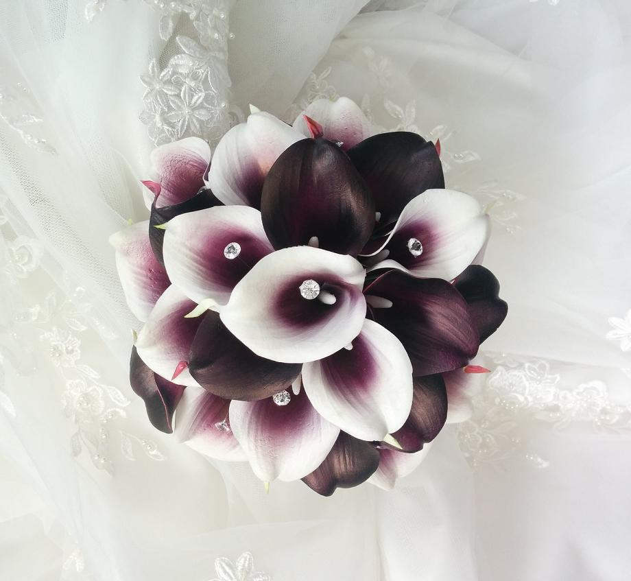 plum Purple Wedding flowers bouquet, silk wedding bouquet, destination wedding, silk wedding flowers bouquets CANADA Silk Calla Lilies bouquet