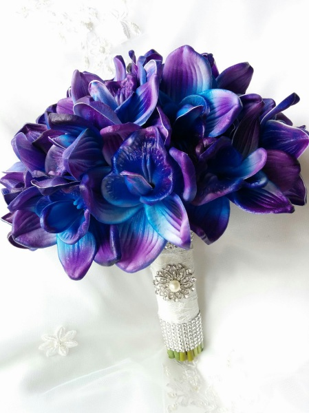 silk blue purple wedding bouquet, orchid bouquet, silk wedding flowers CANADA, beach wedding bouquet