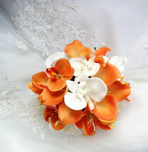 Silk Wedding Bouquet Natural Touch Orange Calla Lilies, Orange Tiger Lilies, Orange and White Phalaenopsis Orchids Wedding Bouquet