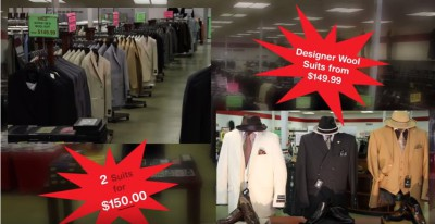 M&S Menswear Outlet Clothing Store showing suits for E1KAYE promotion of E1Kayes products in store location