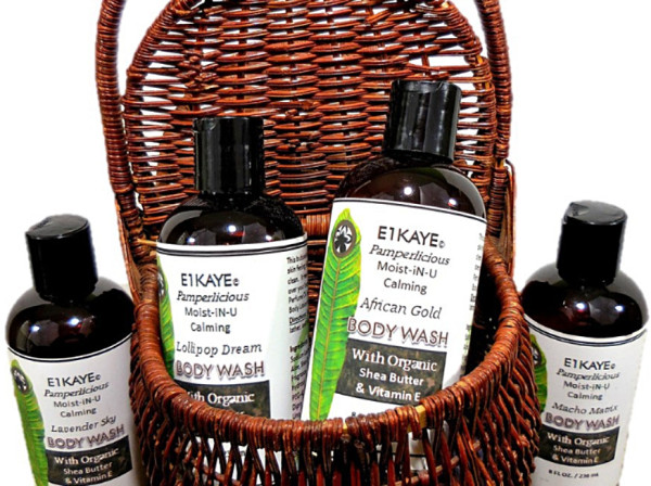 A brown basket of E1Kaye Pamperlicious Moist-N-U calming body wash inside and outside the baskete