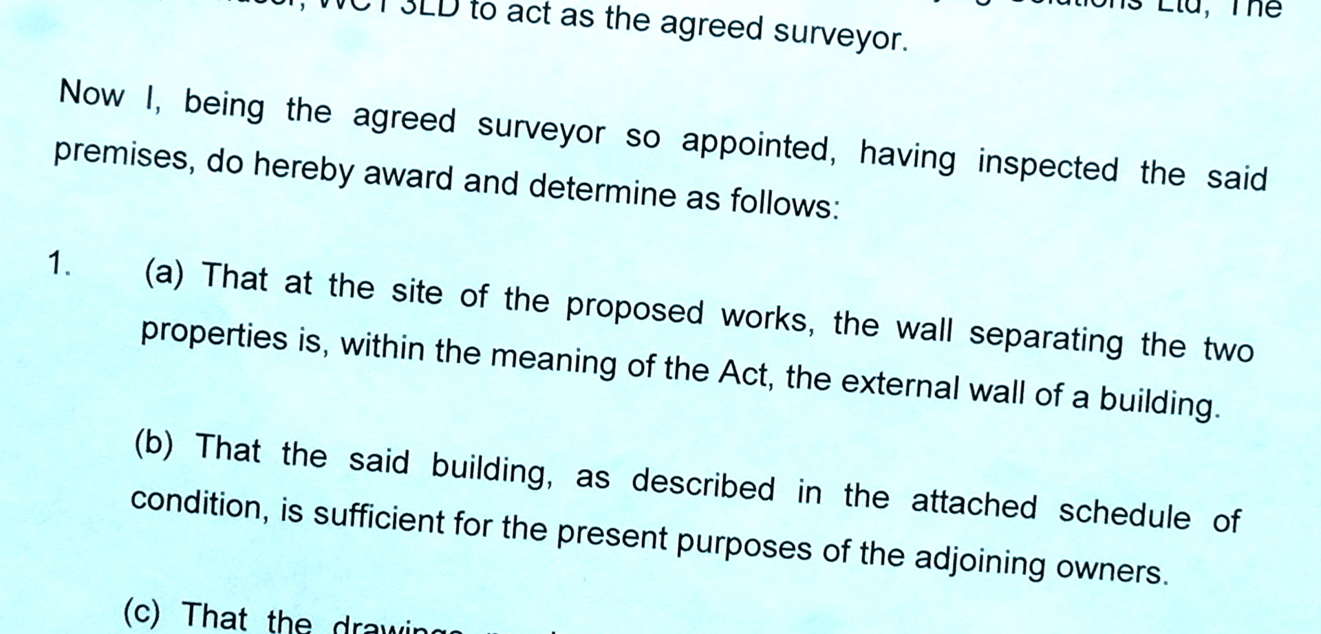 Party wall award document sample