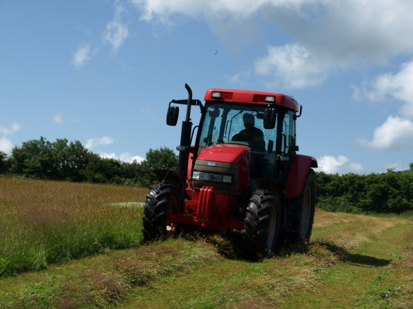 Rob mowing the hay meadows