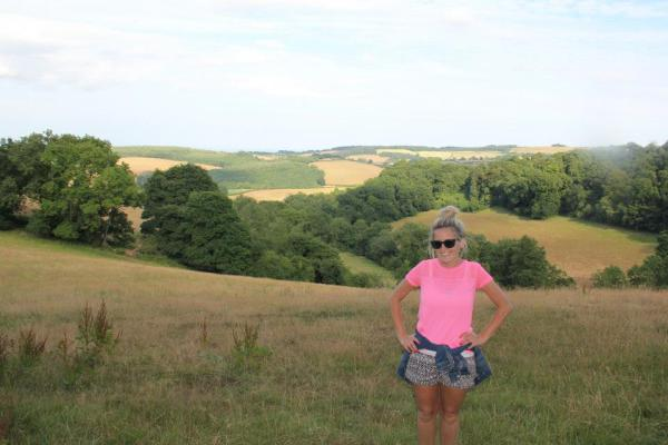 Ashley in hay field