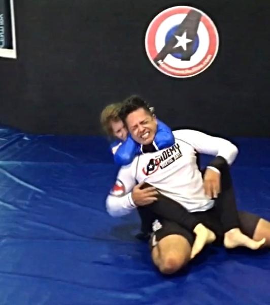 BJJ Girl VS Adult Man Wrestler