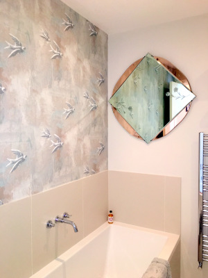 Revamped bathroom, vintage 1930s mirror