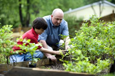 Kelly Jarrell family success, view of a father with his son working together at a garden