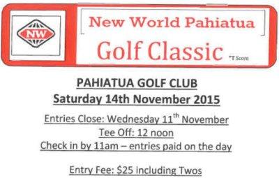Pahiatua New World  Golf Classic 14 November 2015