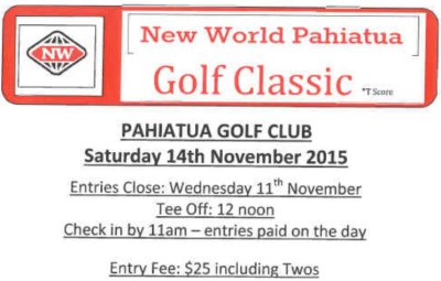 Pahiatua New World  Golf Classic 14 November 2015