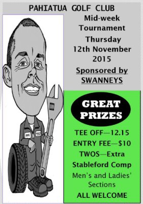 Swanney Mid Week Competition 12 November 2015