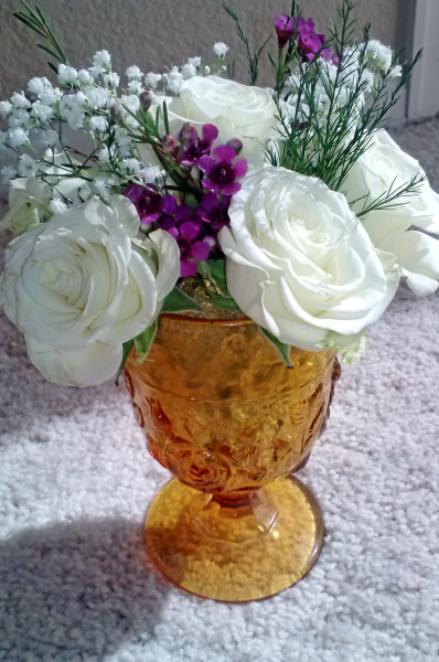 White mini tea roses & amber glass mini arrangement (Shalini's 2013) - Copy