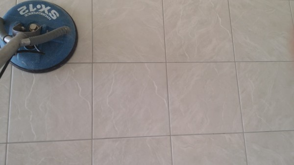 picture of tile and grout cleaning in action