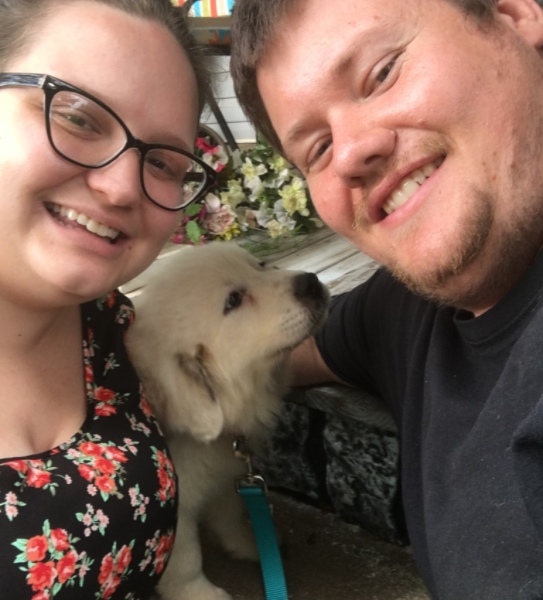 Honey, now named Eleanor Honeybee with her new mom and dad in NC