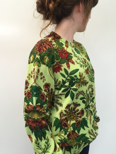 printed knitwear: botanical print on lambswool sweater done with reactive inks and Shima Seiki digital printer by Faering Ltd Wigston UK