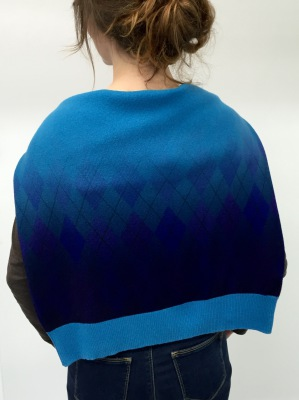 printed knitwear : ombre and fading argyle pattern digitally printed on lambswool sweater by faering ltd