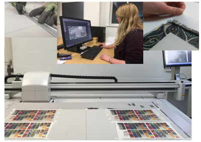 Faering contemporary craft artisan production digital printing of luxury knitwear and wovens