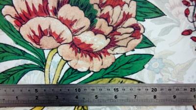Floral design digitally printed on wool by faering ltd