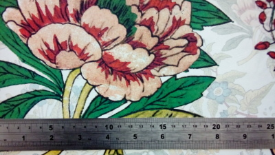 Floral design digitally printed on wool by faering ltd