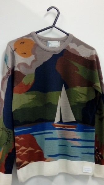 Printed knitwear: ombre design digitally printed onto lambswool sweater by faering ltd