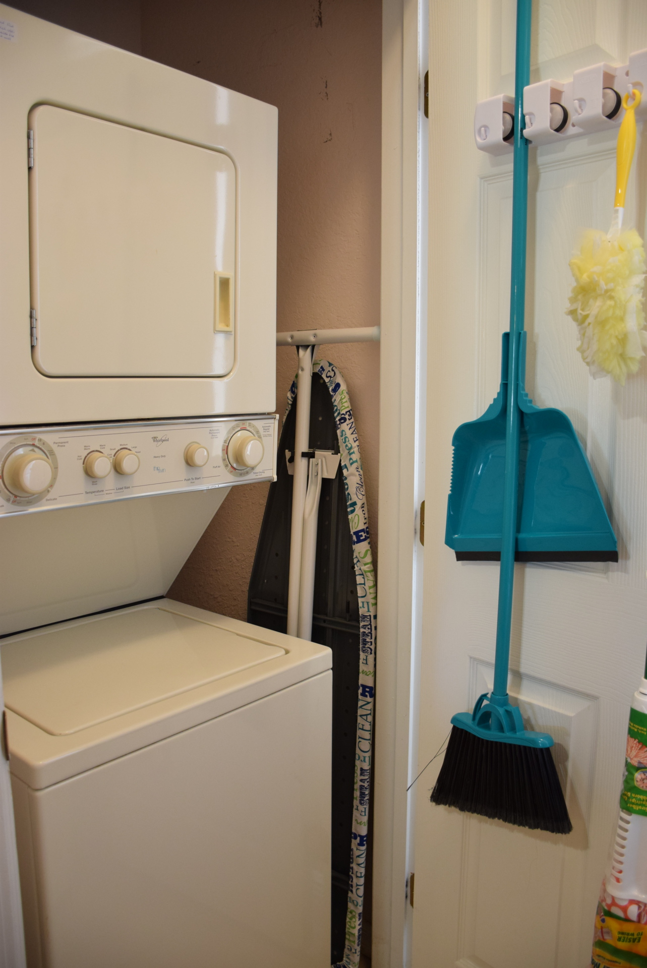 Stackable Washer/Dryer in a kitchen closet