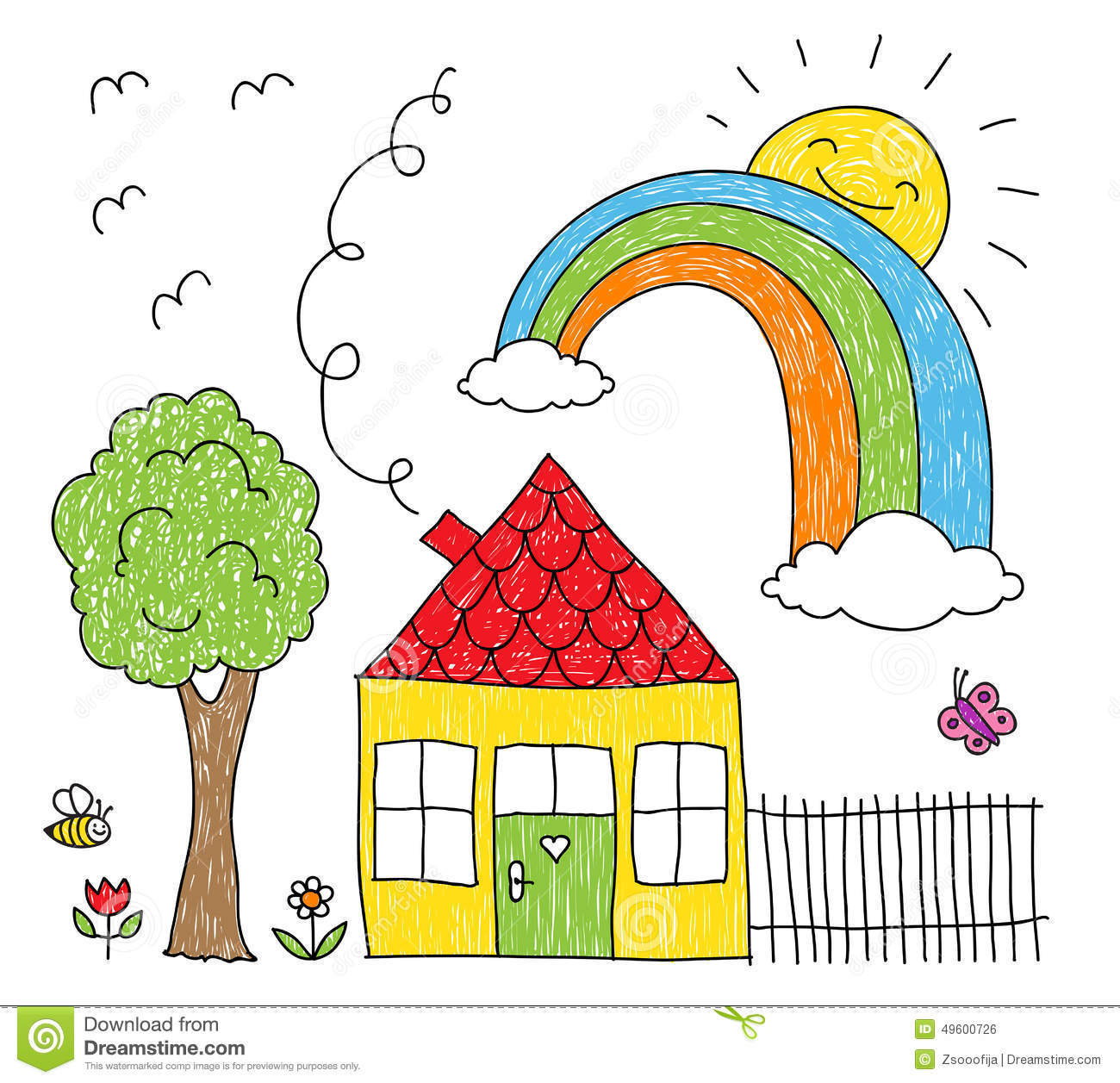 tiny house with rainbow