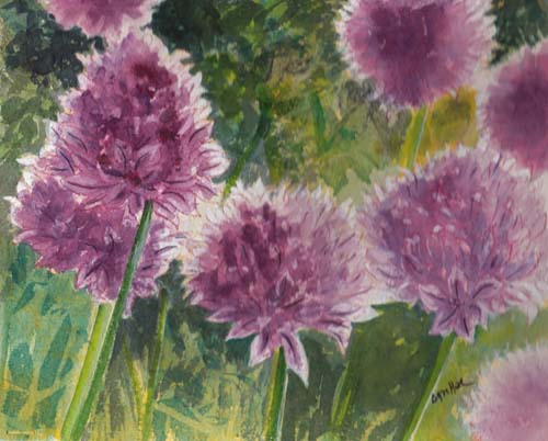 "<img src=""chives floral painting.jpg"" alt=""original watercolor painting"">"
