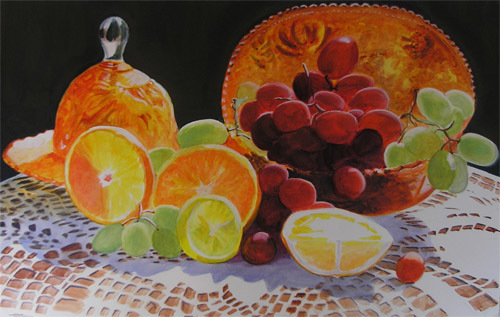 Still Life With Citris and Grapes