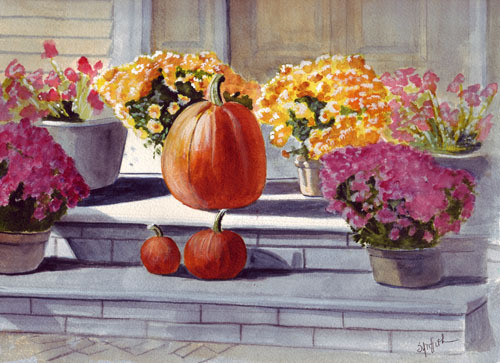 Fall and Pumpkins and Flowers