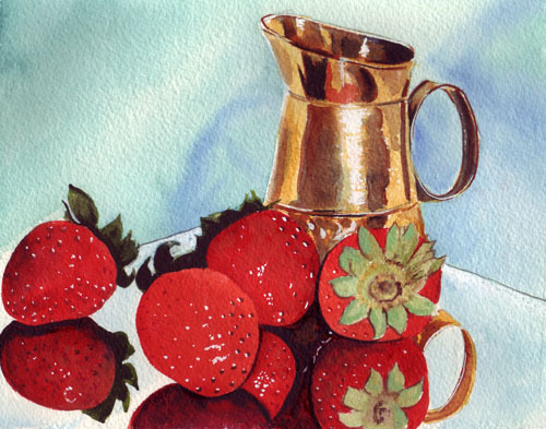 still life copper pitcher-strawberries
