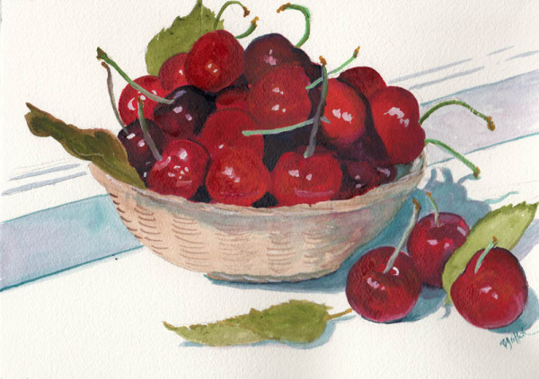 Cherries in Straw Bowl copy