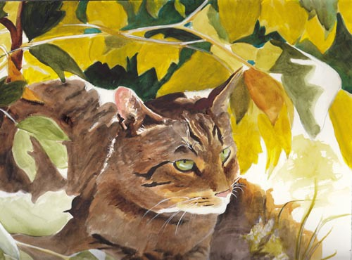 Wild Cat in Foliage copy