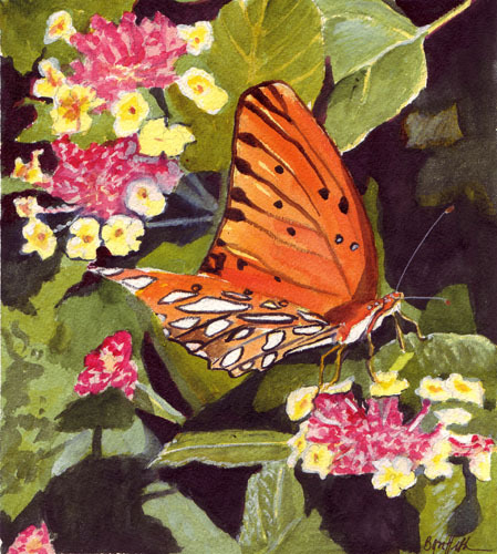 Orange Butterfly Watercolor Painting500