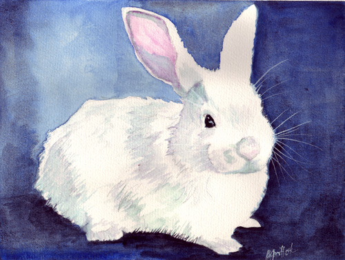 White Rabbit Watercolor Painting